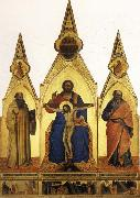 Nardo di Cione The Trinity and SS.Romuald and john the Evangelist Three Stories from the Life ofSt.Romuald oil on canvas