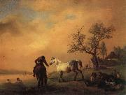 Philips Wouwerman Horses Being Watered painting
