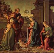 Raffaello Botticini Adoration of the Christ Child with St.Barbara and St.Martin oil painting reproduction