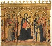 Vecchietta Madonna and Child Enthroned with SS.Bartholomew,James,Eligius,Andrew,Lawrence and Dominic oil painting reproduction