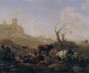 William Romeyn Cattle and sheep by a stream in a pasture,a town beyond oil