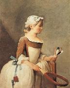 jean-Baptiste-Simeon Chardin Young Girl with a Shuttlecock oil on canvas