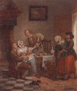 unknow artist An interior with figures drinking and eating fruit oil painting reproduction