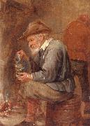 unknow artist An old man sitting by the fire,pouring with into a roemer oil painting reproduction