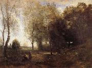 Corot Camille Les Bucheronnes oil on canvas