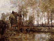 Corot Camille Le Chateau de Wagnonville oil on canvas