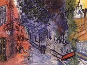 Dufy Raoul Train en gare oil