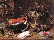 Frans Snyders Hungry Cat with Still Life painting
