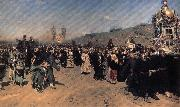 Ilya Repin A Religious Procession in kursk province oil
