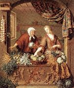 MIERIS, Willem van The Greengrocer oil on canvas