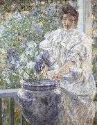 Robert Reid Woman with a Vase of Irises oil