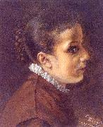 Adolph von Menzel Head of a Girl painting