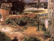 Adolph von Menzel Rear of House and Backyard oil on canvas