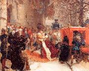 Adolph von Menzel Gustav Adolph Greets his Wife outside Hanau Castle in January 1632 oil on canvas