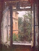Adolph von Menzel View from a Window in the Marienstrasse oil on canvas