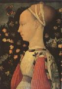Antonio Puccio Called Pisanello Portrait of Ginevra d'Este (mk05) oil on canvas