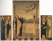 Carlo di Braccesco The Annunciation with Saints A triptych (mk05) oil on canvas