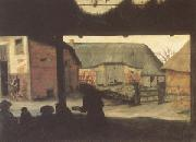 Cornelis van Dalem Farmyard with a Beggar (mk05) oil on canvas