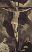 El Greco Christ on the Cross Adored by Two Donors (mk05) oil on canvas