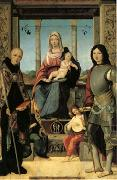 Francesco Marmitta The Virgin and Child with Saints Benedict and Quentin and Two Angels (mk05) oil