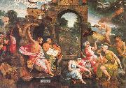 Oostsanen, Jacob Cornelisz van Saul and the Witch of Endor oil painting reproduction