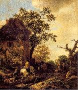 Ostade, Isaack Jansz. van The Outskirts of a Village with a Horseman oil on canvas