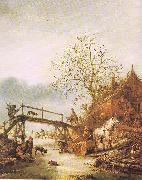 Ostade, Isaack Jansz. van A Winter Scene with an Inn oil on canvas
