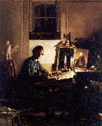 Paye, Richard Morton Self-Portrait While Engraving oil