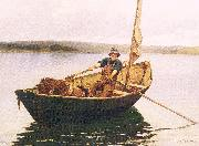 Picknell, William Lamb Man in a Boat oil on canvas