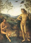 Pietro vannucci called IL perugino Apollo and Marsyas (mk05) oil on canvas