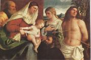 Sebastiano del Piombo The Holy Family with st Catherine st Sebastian and a Donor sacra Conversazione (mk05) oil painting
