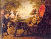 WATTEAU, Antoine Harlequin, Emperor on the Moon painting