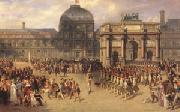 joseph-Louis-Hippolyte  Bellange A Review Day under the Empire in the Cour de Carrousel near the Tuileries Palace (mk05) oil on canvas