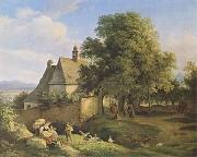 Adrian Ludwig Richter Church at Graupen in Bohemia (mk09) oil
