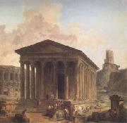 ROBERT, Hubert The Maison Carre at Nimes with the Amphitheater and the Magne Tower (mk05) oil painting on canvas
