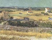 Vincent Van Gogh Harvest at La Crau,with Montmajour in the Background (Blue Cart) (mk09) painting
