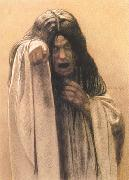 Carlos Schwabe Study for The Wave female figure left of the central figure (mk19) oil on canvas