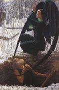 Carlos Schwabe The Grave-Digger's Death (mk19) oil on canvas