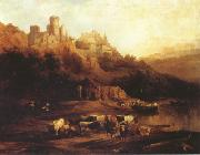 Jenaro Perez Villaamil Herd of Cattle Resting on a Riverbank in Front of a Castle (mk22) painting