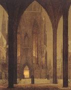 Oehme, Ernst Ferdinand Cathedral in Wintertime (mk22) oil on canvas