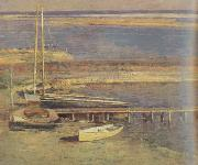 Theodore Robinson Boats at a Landing (nn02) oil