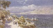 Charles rowbotham Lake como with Bellagio in the Distance (mk37) oil on canvas