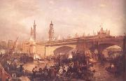 Clarkson Frederick Stanfield The Opening of London Bridge (mk25) oil on canvas