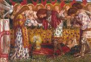 Dante Gabriel Rossetti How Sir Galahad,Sir Bors and Sir Percival were Fed with the Sanc Grael But Sir Percival's Sister Died by the Way (mk28) painting