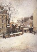 Edouard Castres Snowed up Street in Paris (nn02) oil on canvas