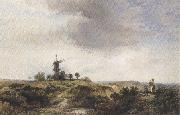 George cole The Windmilll on the Heath (mk37) oil on canvas