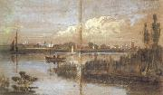 Joseph Mallord William Turner River scene with boats (mk31) oil on canvas