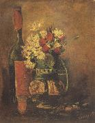 Vincent Van Gogh Vase with Carnation and Roses and a Bottle (nn04) oil painting reproduction