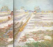 Vincent Van Gogh Landscape with Snow (nn04) oil painting reproduction