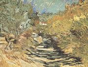 Vincent Van Gogh A Road at Sain-Remy with Female Figure (nn04) oil painting reproduction